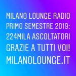 224mila ascoltatori unici per Milano Lounge Radio nel 1° semestre 2019
