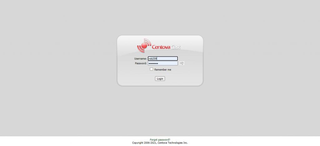 Pagina di login di CentovaCast