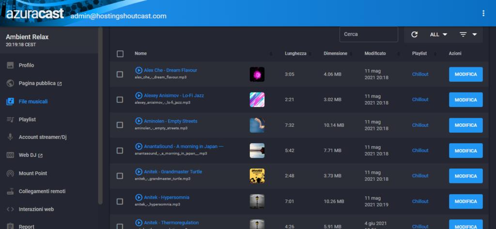 """L'archivio delle tracce in Azuracast offre la funzione """"Cerca"""""""