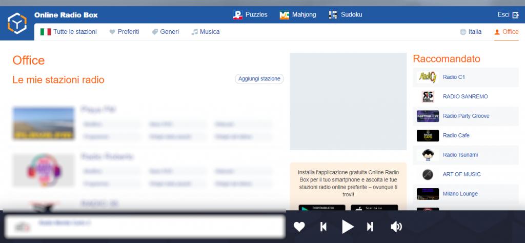 Dalla vostra area Office di OnineRadioBox.com potete inserire e modificare le vostre web radio