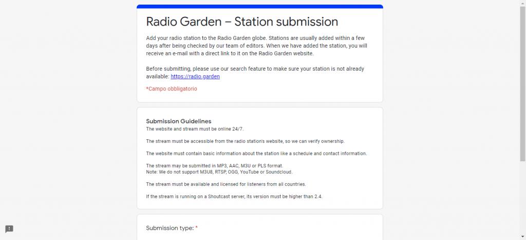 Inserite i dati della vostra web radio nel formulario