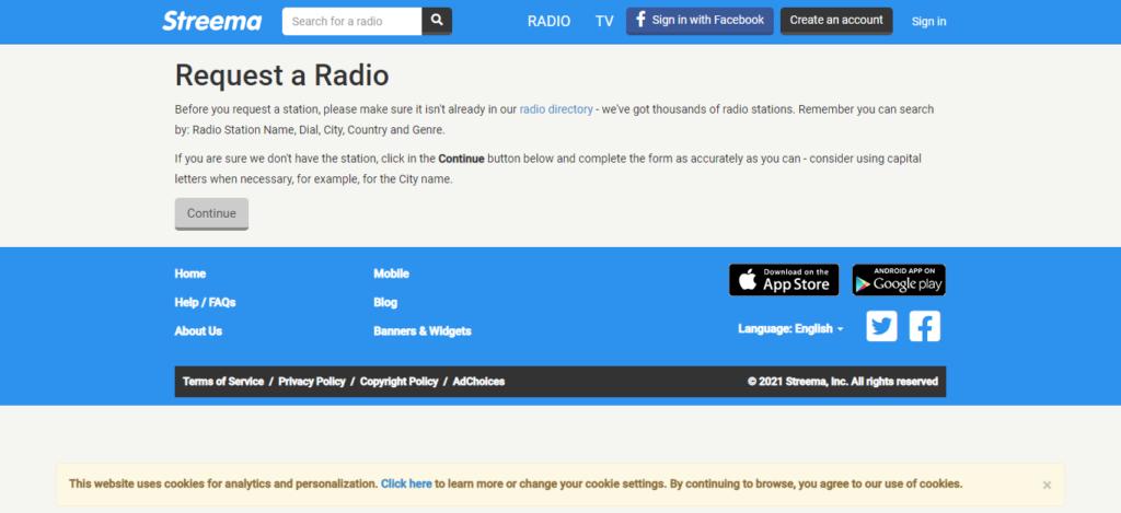 Da questa pagina si compila il formulario per l'iscrizione della propria web radio su Streema