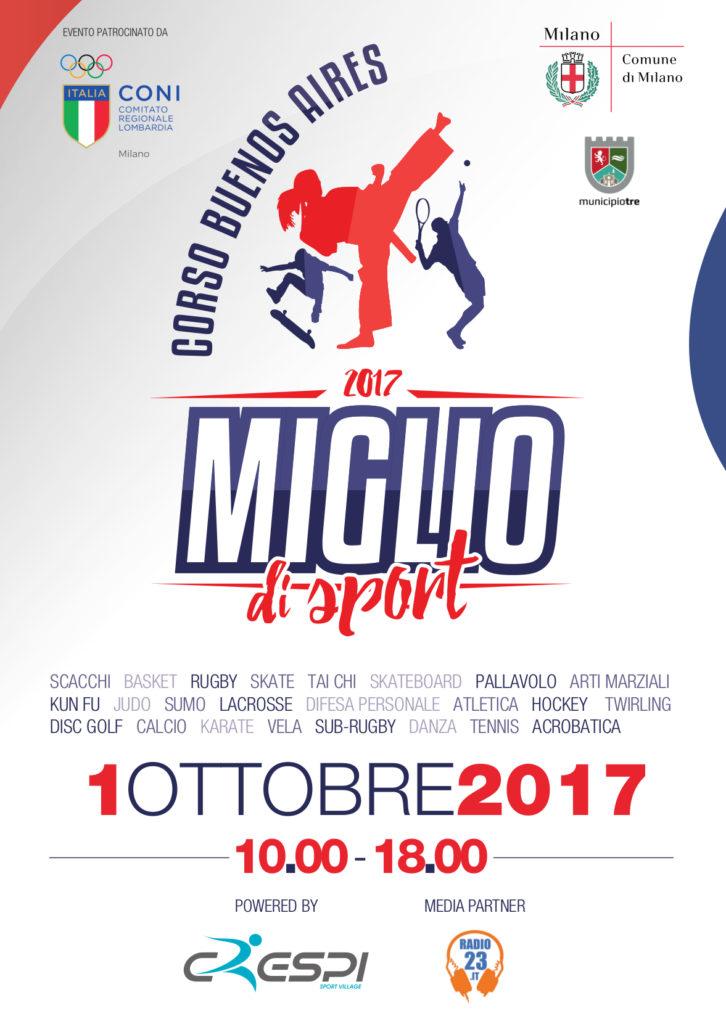 Miglio di Sport 2017, Domenica 1 Ottobre in Corso Buenos Aires a Milano